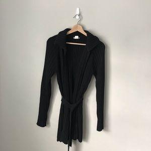 J. Crew Cardigan Jacket Sweater Wrap Belted Black